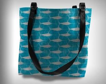 marlin reversible tote bag school bag beach bag boat bag purse market bag grocery bag craft