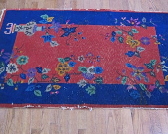 Antique Chinese Art Deco Wool Woven Rug Red Blue Flowers Motif