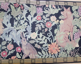 Vintage Stunning Arts and Crafts Style Flora and Fauna Black Wallpaper Border