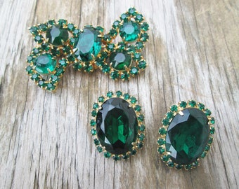 Vintage Emerald Green and Gold Bow Brooch and Earring Set, Holidays