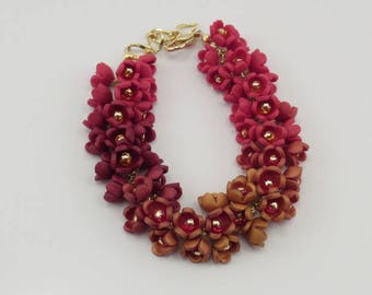 Polymer Clay Flower Bracelet, Ombre Effect In Red/Gold/Burgandy