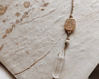 Gold Plated Peach Druzy And Crystal Quartz Point Lariat Necklace