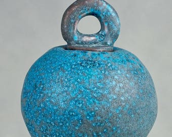 Studio Pottery No. 25 - Stunning Hand-built Stoneware BALL VESSEL With DONUT Stopper, In Crystalized Turquoise Glaze, 2017