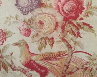 Stunningly beautiful antique english linen chintz indiennes bird textile fabric~ projects