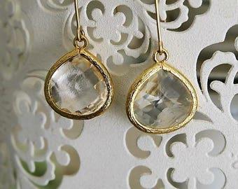 Crystal Bridal Earrings, Crystal Teardrop Earrings, Crystal Bridal Earrings Gold, Tear Drop Earrings, Gold Filled Earrings, Dangle Earrings