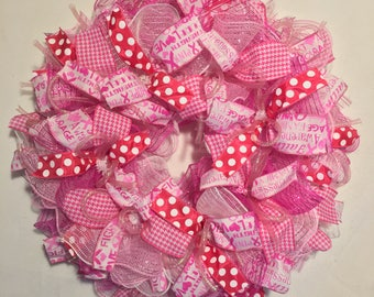 Breast cancer awareness wreath, breast cancer wreath, breast cancer hope wreath, hope wreath, breast cancer survivor wreath, breast cancer