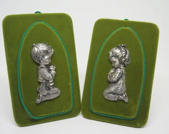 """Pewter; Praying Boy & Girl; Velvet Pictures; Approx. 3"""" x 5""""; Made in Italy !!!"""