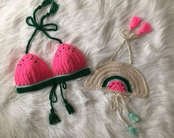 Crocheted Mommy & Me Bold Watermelon Top Set