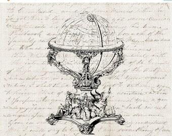 40% OFF SALE Vintage Illustration Digital Download - Antique Vintage Globe Decor Clipart Graphic Printable Transfer Craft Scrapbook INSTANT