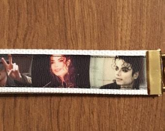 Michael Jackson Key Chain Zipper Pull Wristlet