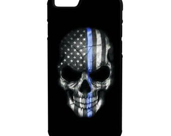 Thin Blue Line Skull iPhone Galaxy Note LG HTC Hybrid Rubber Protective Case Blue Lives Matter Police Lives Matter
