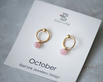 14K gold plated natural stones October Birthstone pink stud drop earrings hoop birthday gift