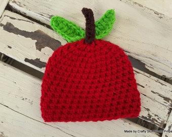 Crochet Apple Beanie, newborn apple, baby beanie, newborn beanie, photography prop beanie, baby hat, crochet baby beanie, red baby hat