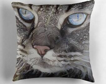 Cat Cushion, Cat Decor, Cat Pillow, Cat Lover Gift, Cat Throw Pillow, Pet Pillow, Pet Cushion, Persian Cat, Grey Pillow, Kitty Pillow