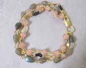Triple Strand Bracelet, Rose Quartz, Three Strand Bracelet, Labradorite Briolettes, Hand Wirewrapped, Multistrand Jewelry