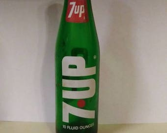 Rare Green Glass 10 oz ACL 7 UP Collectible Soda Bottle