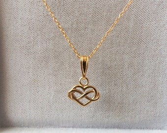 9ct Gold over Sterling Silver Infinity Heart Pendant Necklace.