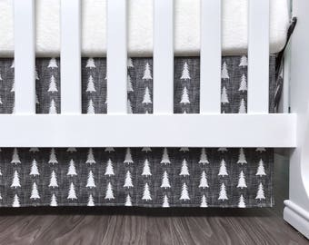 """Charcoal gray pine tree forest woodlad gray white gender neutral 3 sided 7"""", 10"""", 13"""", 16"""" drop crib skirt (#0202)"""
