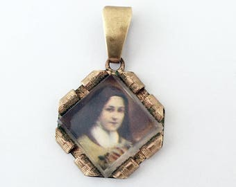 Vintage French Saint Therese Charm French Religious Medal Pendant
