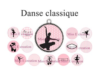 Ballet print digital image round cabochon 25mm and 20mm and 18mm