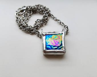 Rainbow Blue Glass Necklace