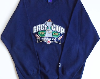 Winnipeg blue bombers cfl football one pound fleece starter crewneck sweater grey cup 85  sweatshirt size xl