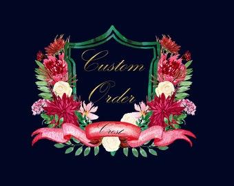 Custom watercolor Crest. Wedding crest. Heraldry