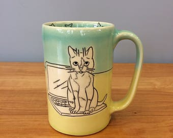 Handmade Mug with Computer and Cat. Glazed in Lime & Aqua. MA15