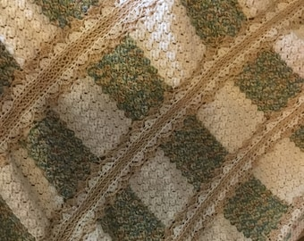 Hand Crocheted Blanket made of Varigeted Natural Colors and Cream Trimmed in Tan