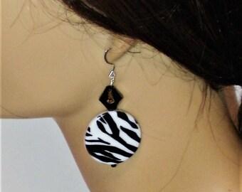Zebra Earrings, Zebra Stripe Earrings, Leopard Earrings, Cheetah Earrings, Clip on Earrings, Black and White Earrings, J'NING Jewelry,