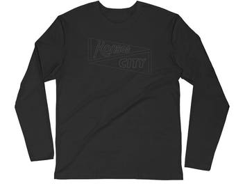 Kansas City Long Sleeve Shirt - Hybrid Black Pennant L/S T Shirt - Pennant Tee, Sports Shirt, KC Shirts, Made in KC, Landlocked
