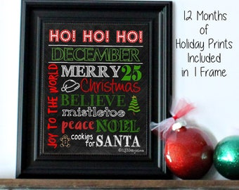 Christmas Decor - Christmas Subway Art Chalkboard Picture Frame - Holiday Decor - Holiday Gifts - Holiday Signs - Chalkboard Art