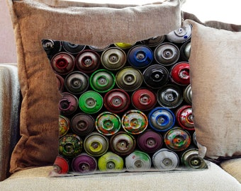 Spray Paint Cans Photography - Decorative PIllow Throw Cushion Fabric , Case Cover or with Filling