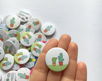 Brooch with cactus couple illustration