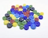 Bullseye MIX 50/100 pieces of Handmade Millefiori Glass Beads for Mosaic Decoration (3-6mm thick, 6-13mm diameter, 40-90gr weight)