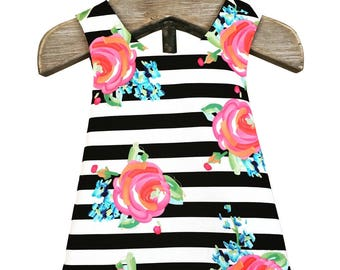 Paris Girls Reversible Pinafore/Dress/Top~Black Stripe Floral~Photo Shoot~Birthday Outfit~Summer Outfit~Girls Matching~Size 2T~Ready to Ship