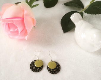 Lime sequins and Silver earrings