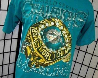 Florida Marlins 1997 World Series Championship Ring tee shirt XL Made in the USA