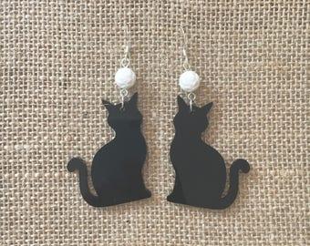 Kitty cat laser cut acrylic earrings with chandelier drop fish hooks customizable