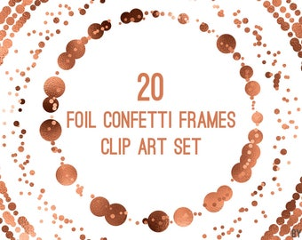 Copper Confetti Frames Foil Circle Clip Art 20 Image PNG File 8in Commercial Use Graphics Digital Clipart