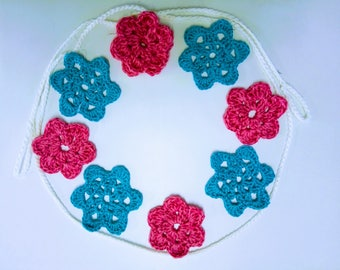 9 flowers, crochet garland, flower garland, crochet bunting, crochet home decor