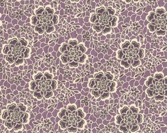 Andover Fabrics - Downton Abbey Collection - Quilting Cotton - The Dowager's Lace Purple Black Gray Tan Cream