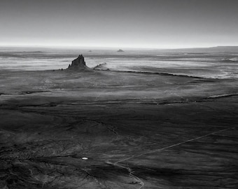 Ship Rock No. 1, Navajo Reservation, 2017: A Black and White Photograph 12x15