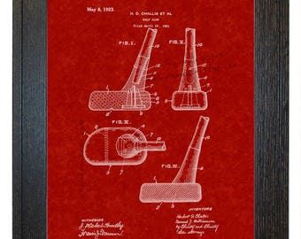 Framed Patent Print - Golf Club WITH Real Rustic Wood Frame - Framed Patent Art