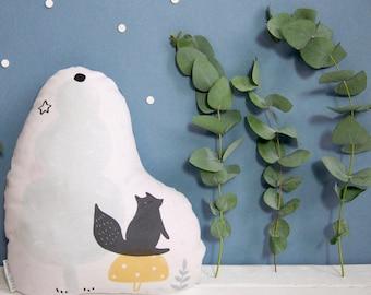 Coussin - Rêve en forêt - Matières naturelles et coton bio - Eco-responsable / Chambre enfant/bébés - Pastel/Décoration -