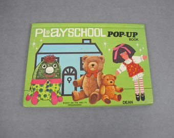 Vintage Dean's Playschool Pop-up book. 1971. With Humpty Dumpty, Jemima, Big Ted and Little Ted.