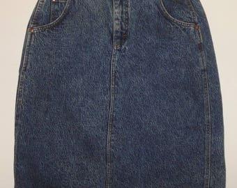 Dark Blue Denim Jeans Skirt S/M Lee