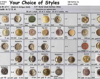 "30 Metal 3/4""  Buttons Gold 80 styles to choose from Brass Shank 19mm- Halloween Costumes Theater Plays Medieval Renaissance Faire Clothing"