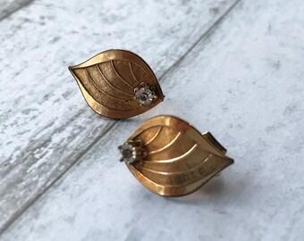 Art Nouveau Earrings/ Boho Earrings/ 1920's Earrings/ Art Deco Earrings/ Bridal Earrings/ Rhinestone Earrings/ Gold Earrings/ Leaf Earrings