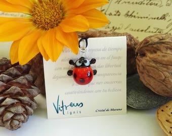 Ladybird pendant made with Murano Glass